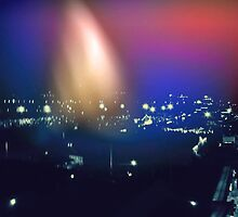 City at Night Light Leak by aviva brooke