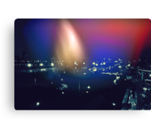 City at Night Light Leak Canvas Print