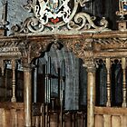 Wooden screen and organ Church Abbey Dore England 198405170069  by Fred Mitchell