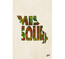 Missouri Typographic Watercolor Map Photographic Print