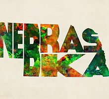 Nebraska Typographic Watercolor Map by A. TW
