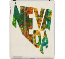 Nevada Typographic Watercolor Map iPad Case/Skin