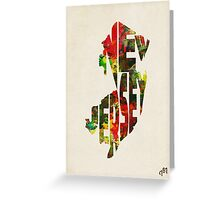 New Jersey Typographic Watercolor Map Greeting Card