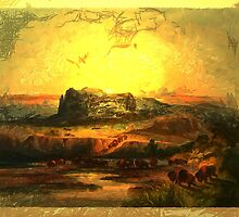 A digital painting of 'Bison on the Upper Missouri' from an aquatint by Karl Bodmer by Dennis Melling