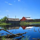 Farm Buildings and Pond. by Jim Sauchyn