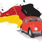 Red Orange VW Beetle with the German Flag Colors behind by ibadishi