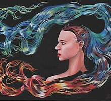Blue Peacock Girl with Flowing Hair  by Sonya Ann Barnes