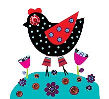 Polka dots & Buttons Hen  by lespetitsbutton