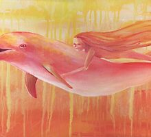 Red dolphin with Swimming Mermaid Transforming Girl by Sonya Ann Barnes