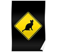 Cat Crossing Traffic Sign - Diamond - Yellow & Black Poster