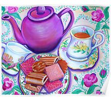 Pink Tea with Roses Poster