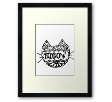 """Decorated """"Meow"""" Cat Framed Print"""