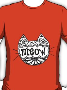 """Decorated """"Meow"""" Cat T-Shirt"""