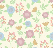 Elegant seamless pattern with pastel flowers hand drawn by krambik