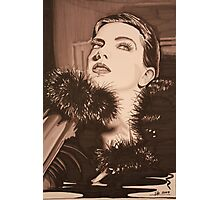 Lady In Fur -  Sepia Photographic Print