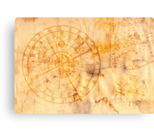 zodiac signs and astronomical clock Canvas Print