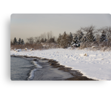 The Snow Just Stopped - a Winter Beach on Lake Ontario Canvas Print