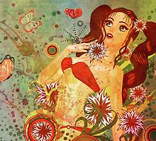 Grunge red bikini girl on floral background by AnnArtshock