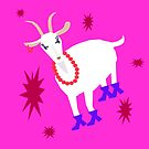 Goat on the Pink Background. Neon. by Vitta