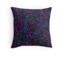 Abstract Geometric 3D Triangle Pattern in Blue / Pink Throw Pillow