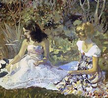 Young Women with a Kitten by Michele Taylor