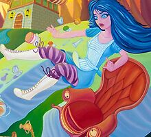 A mad tea-party - Alice and the Jumping Couch (Phone & Tablet Cases - Laptop Skins) by Wil Zender