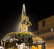 Rome's Fabulous Fountains – Triton Fountain at Night by Georgia Mizuleva