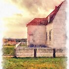 Sunset on the old farm house by Edward Fielding