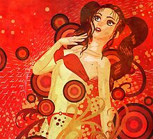 Red bikini girl on grunge floral background by AnnArtshock