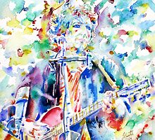 BOB DYLAN playing the GUITAR - watercolor portrait.2 by lautir