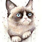 Grumpy Watercolor Cat by OlechkaDesign