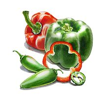 Bell Peppers With Jalapeno  by Irina Sztukowski