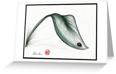 """Leaf Me Alone"" - Ladybug drawing by Rebecca Rees"