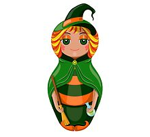 Nested doll in a suit of the witch a Halloween in a green raincoat with a sweeper and a potion in hands by Ann-Julia