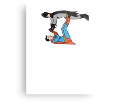 Batman And Superman Playing Metal Print