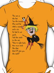 Witch cat hat, with poem T-Shirt