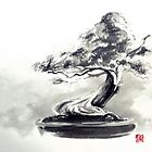 Bonsai tree artwork, japanese home decor by Mariusz Szmerdt