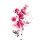 Pink roses original painting, perfect gift for woman by Mariusz Szmerdt