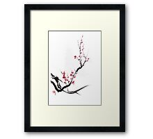 Cherry blossom tree sumi-e painting, sakura art print Framed Print