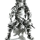 Samurai ink art print, japanese warrior armor poster by Mariusz Szmerdt