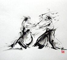 Samurai fight large poster, martial arts art work by Mariusz Szmerdt