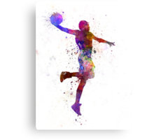 young man basketball player one hand slam dunk Canvas Print
