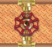 Copper Pipe with Red Water Valve - Plumbing by SandpiperDesign