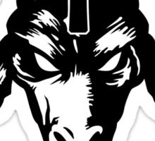 Satanic Goat Head with Cross (black) Sticker