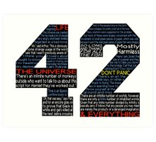 Hitchhiker's Guide 42 Quotes Art Print