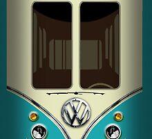 Blue Teal VW Volkswagen kombi camper minibus minivan by Latifa Salma lufa Poerawidjaja
