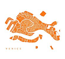 Venice Map (Orange) Photographic Print