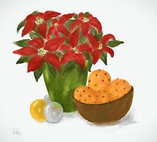 Christmas Still Life with Poinsettia and Oranges by Sarah Countiss