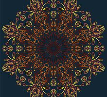 circular gradient ornament on a dark blue background by Ann-Julia