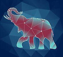 polygonal contour elephant on a blue background by Ann-Julia